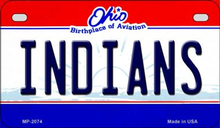 Indians Ohio Novelty Metal Motorcycle Plate MP-2074