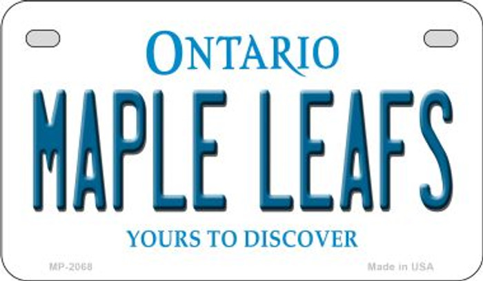 Maple Leafs Ontario Novelty Metal Motorcycle Plate MP-2068