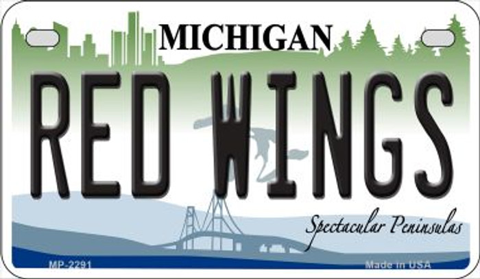 Red Wings Michigan Novelty Metal Motorcycle Plate MP-2291