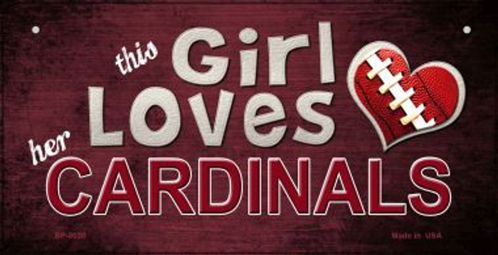 This Girl Loves Her Cardinals Novelty Metal Bicycle Plate BP-8030