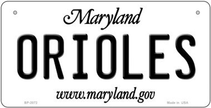 Orioles Maryland Novelty Metal Bicycle Plate BP-2072