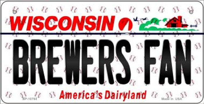 Brewers Fan Wisconsin Novelty Metal Bicycle Plate BP-10794