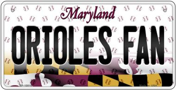 Orioles Fan Maryland Novelty Metal Bicycle Plate BP-10816
