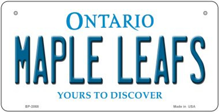 Maple Leafs Ontario Novelty Metal Bicycle Plate BP-2068