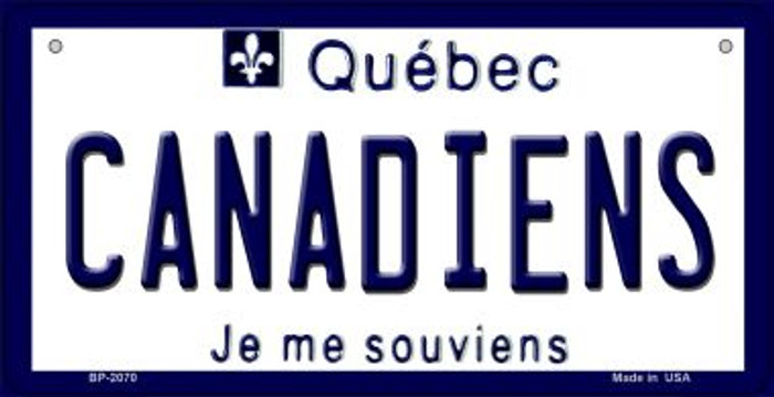 Canadiens Quebec Novelty Metal Bicycle Plate BP-2070