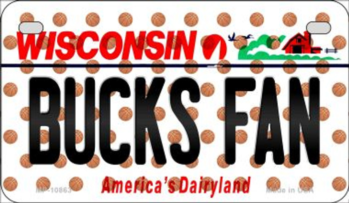 Bucks Fan Wisconsin Novelty Metal Motorcycle Plate MP-10863