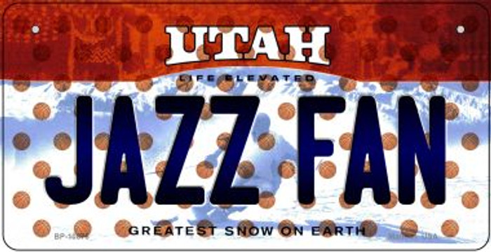 Jazz Fan Utah Novelty Metal Bicycle Plate BP-10876