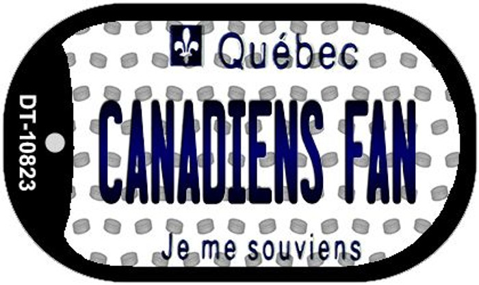 Canadiens Fan Quebec Novelty Metal Dog Tag Necklace DT-10823
