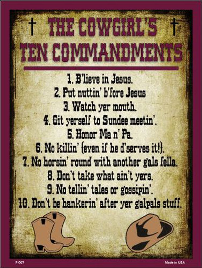 Cowgirls Ten Commandments Vertical Metal Novelty Parking Sign