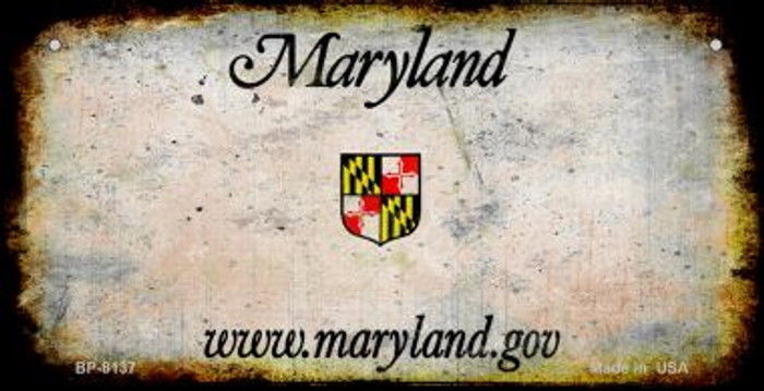 Maryland Rusty Blank Background Wholesale Novelty Metal Bicycle Plate BP-8137