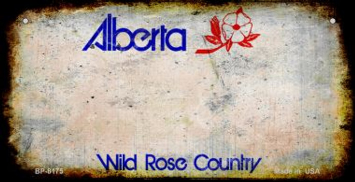 Alberta Rusty Blank Background Novelty Metal Bicycle Plate BP-8175