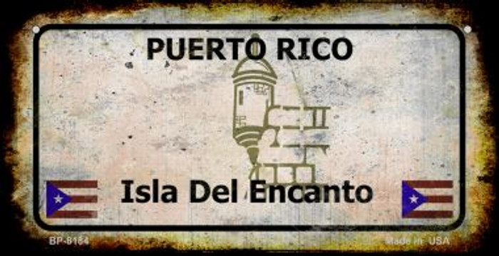 Puerto Rico Rusty Blank Background Novelty Metal Bicycle Plate BP-8184