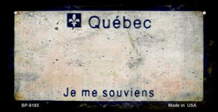 Quebec Rusty Blank Background Novelty Metal Bicycle Plate BP-8185