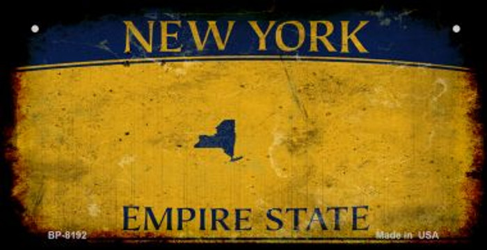 New York Yellow Rusty Blank Background Novelty Metal Bicycle Plate BP-8192