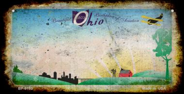 Ohio Rusty Blank Background Novelty Metal Bicycle Plate BP-8193