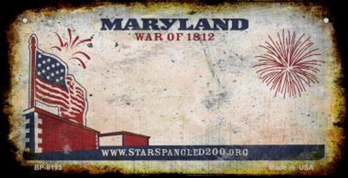 Maryland Rusty Blank Background Novelty Metal Bicycle Plate BP-8195