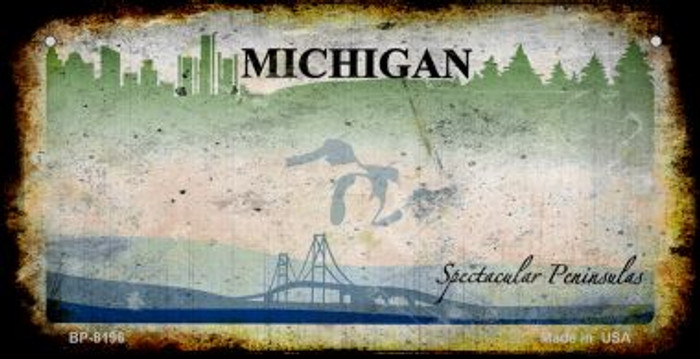 Michigan Rusty Blank Background Novelty Metal Bicycle Plate BP-8196