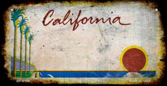 California Rusty Blank Background Novelty Metal Bicycle Plate BP-8198