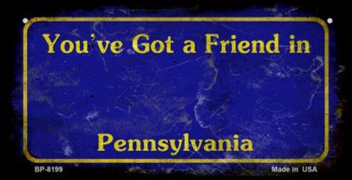 Pennsylvania Blue Rusty Blank Background Novelty Metal Bicycle Plate BP-8199