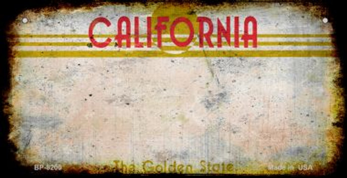 California Rusty Blank Background Novelty Metal Bicycle Plate BP-8200