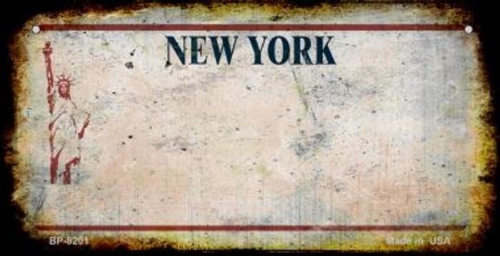 New York White Rusty Blank Background Novelty Metal Bicycle Plate BP-8201