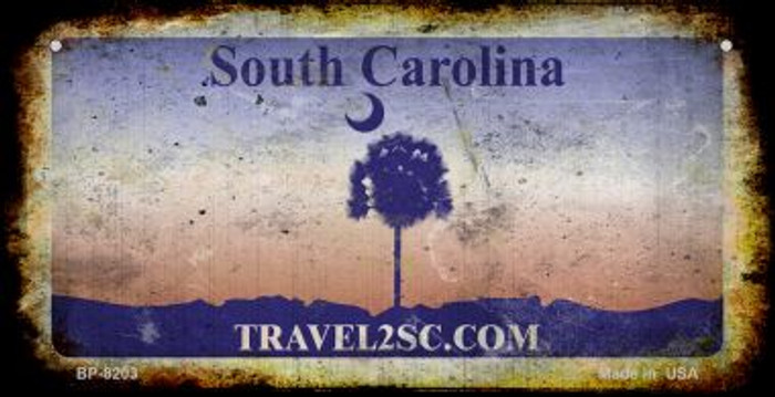 South Carolina Rusty Blank Background Novelty Metal Bicycle Plate BP-8203