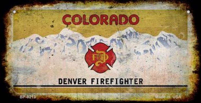 Colorado Denver Firefighter Rusty Blank Background Novelty Metal Bicycle Plate BP-8213