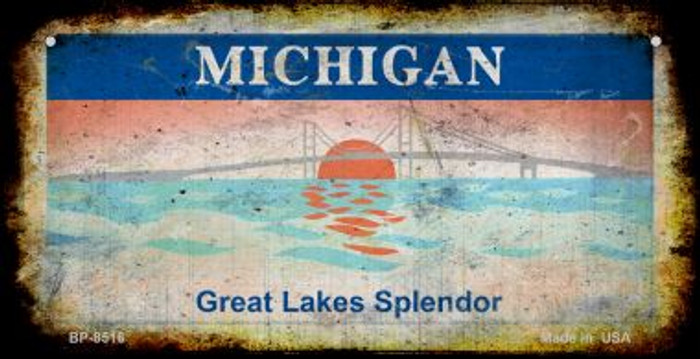 Michigan Rusty Blank Background Novelty Metal Bicycle Plate BP-8516