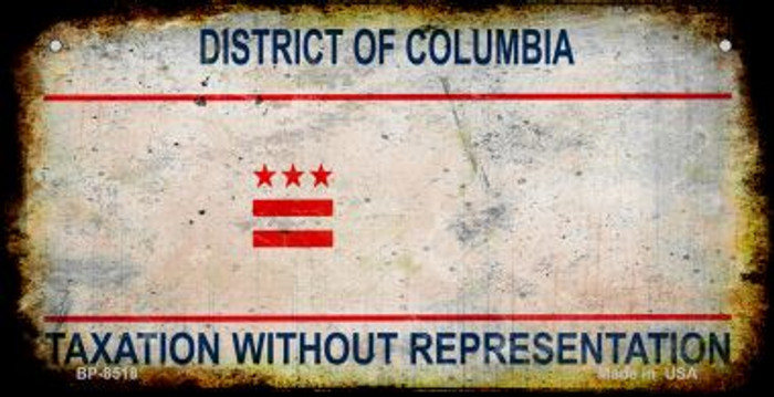 District of Columbia Rusty Blank Background Novelty Metal Bicycle Plate BP-8518