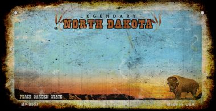North Dakota Rusty Blank Background Novelty Metal Bicycle Plate BP-9507