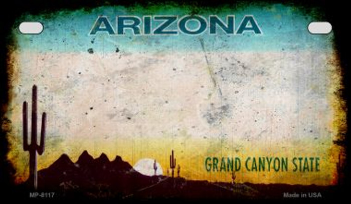 Arizona Rusty Blank Background Novelty Metal Motorcycle Plate MP-8117