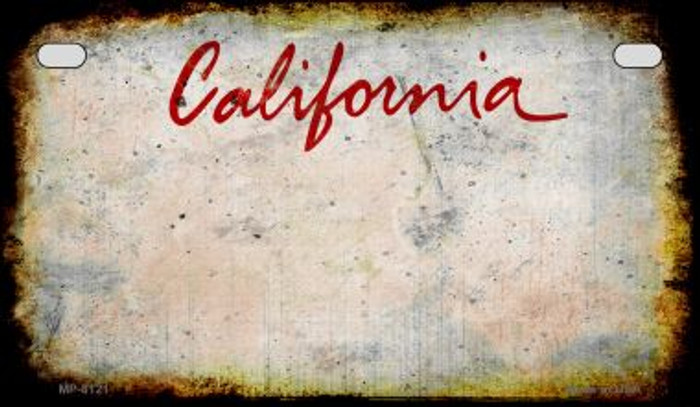 California Rusty Blank Background Novelty Metal Motorcycle Plate MP-8121