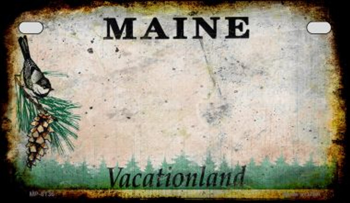 Maine Rusty Blank Background Novelty Metal Motorcycle Plate MP-8136