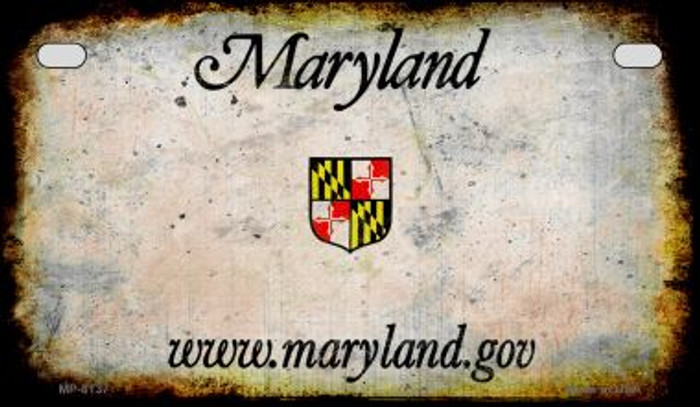 Maryland Rusty Blank Background Novelty Metal Motorcycle Plate MP-8137