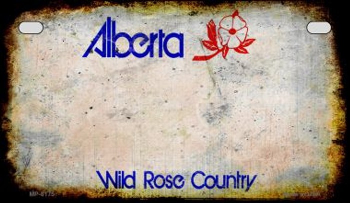 Alberta Rusty Blank Background Novelty Metal Motorcycle Plate MP-8175