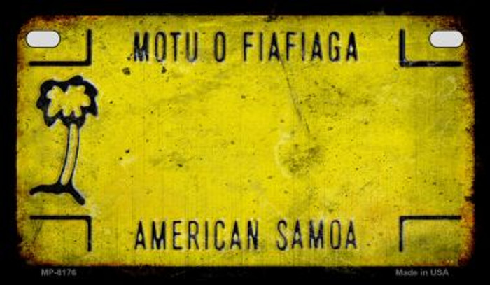 American Samoa Rusty Blank Background Novelty Metal Motorcycle Plate MP-8176