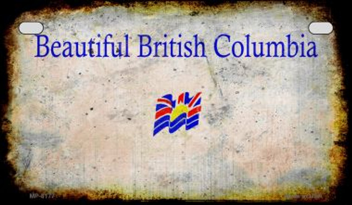 British Columbia Rusty Blank Background Novelty Metal Motorcycle Plate MP-8177
