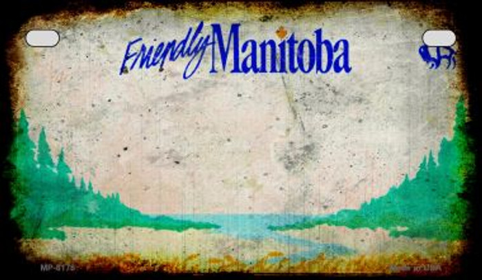 Manitoba Rusty Blank Background Novelty Metal Motorcycle Plate MP-8178