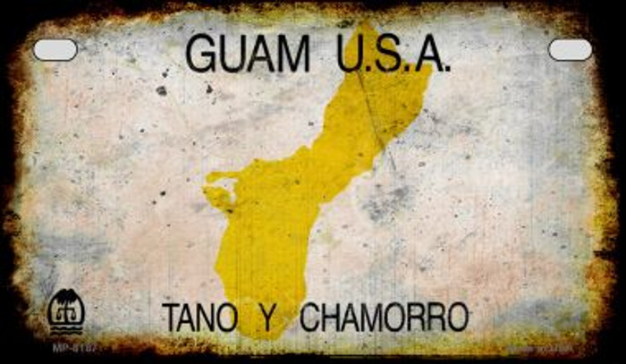Guam Rusty Blank Background Novelty Metal Motorcycle Plate MP-8187