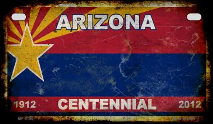 Arizona Centennial Rusty Blank Background Novelty Metal Motorcycle Plate MP-8190