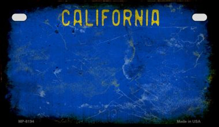 California Blue Rusty Blank Background Novelty Metal Motorcycle Plate MP-8194