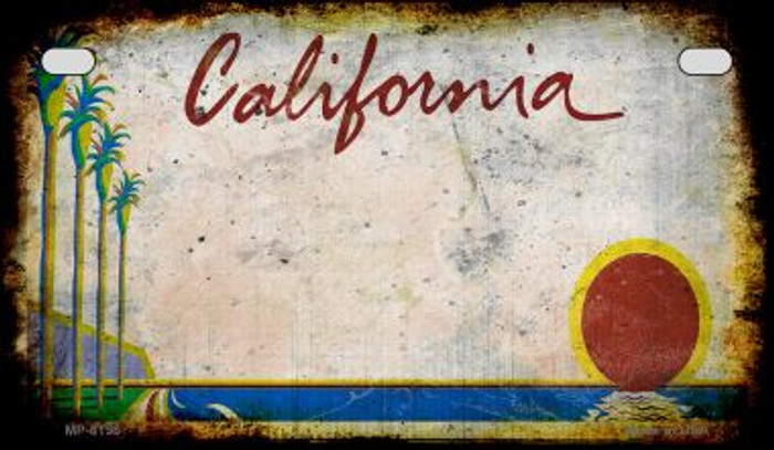 California Rusty Blank Background Novelty Metal Motorcycle Plate MP-8198