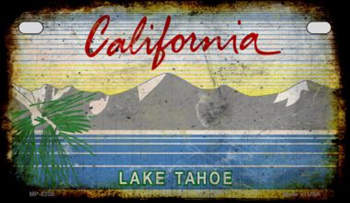 California Lake Tahoe Rusty Blank Background Novelty Metal Motorcycle Plate MP-8208