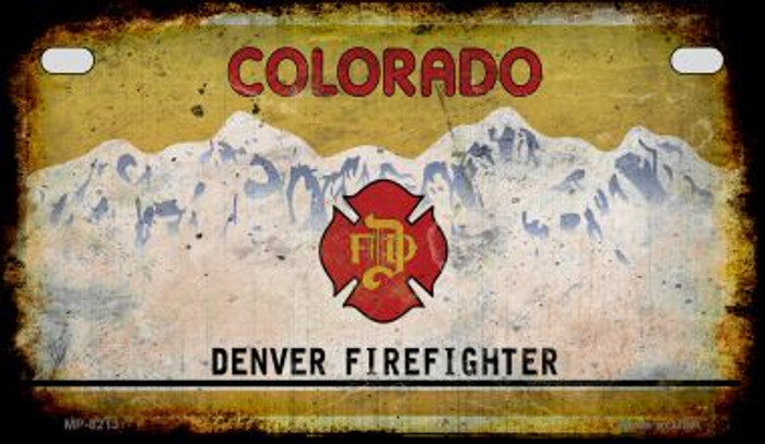 Colorado Denver Firefighter Rusty Blank Background Novelty Metal Motorcycle Plate MP-8213