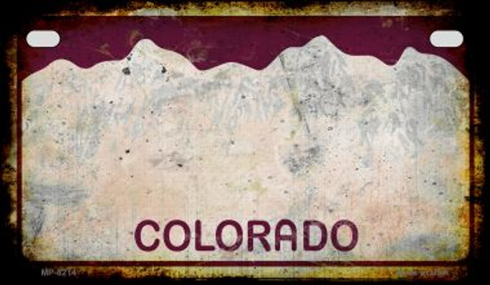 Colorado Rusty Blank Background Novelty Metal Motorcycle Plate MP-8214