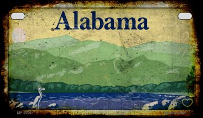 Alabama Rusty Blank Background Novelty Metal Motorcycle Plate MP-9503