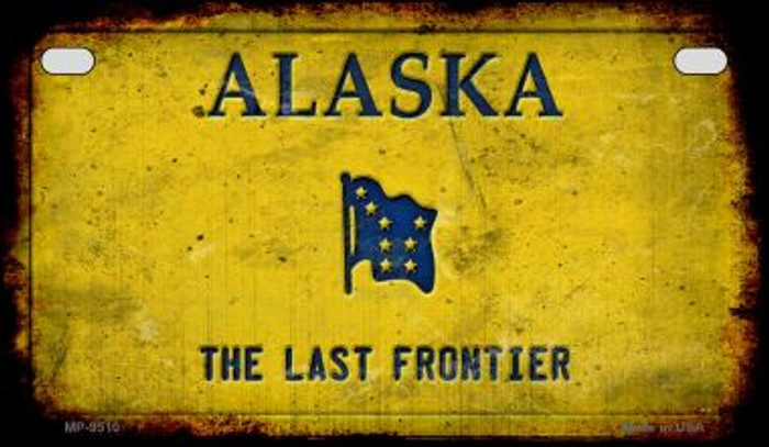 Alaska Rusty Blank Background Novelty Metal Motorcycle Plate MP-9510