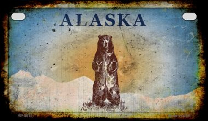 Alaska Bear Rusty Blank Background Novelty Metal Motorcycle Plate MP-9512