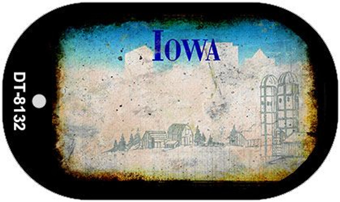 Iowa Rusty Blank Background Novelty Metal Dog Tag Necklace DT-8132