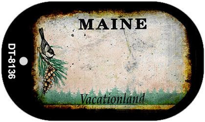 Maine Rusty Blank Background Novelty Metal Dog Tag Necklace DT-8136